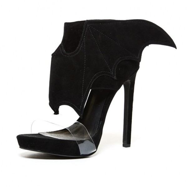 Black Bat Girl Clear Heels Open Toe Stiletto Heel Halloween Sandals image 1