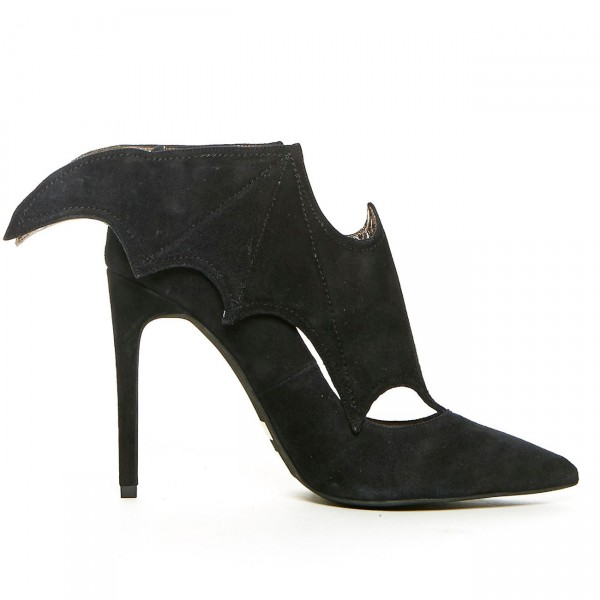 Black Bat Girl Stiletto Heels Pointy Toe Suede Pumps For Halloween image 2