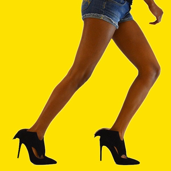 Black Bat Girl Stiletto Heels Pointy Toe Suede Pumps For Halloween image 4