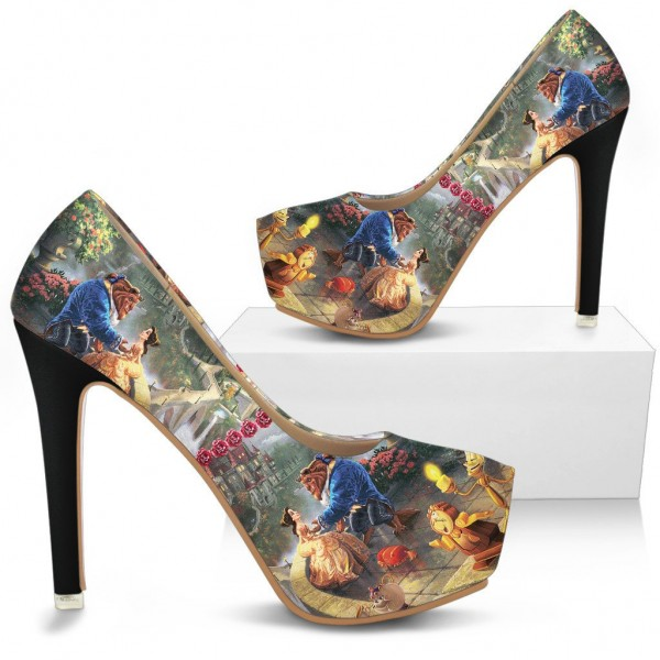 Beauty and the Beast Floral Heels Halloween Shoes Platform High Heels image 1