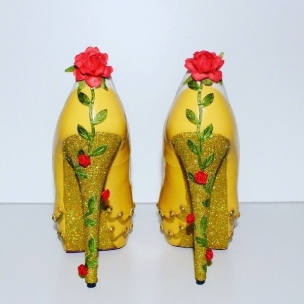 Yellow Beauty and the Beast Rose Glitter Stiletto Heels Pumps image 2