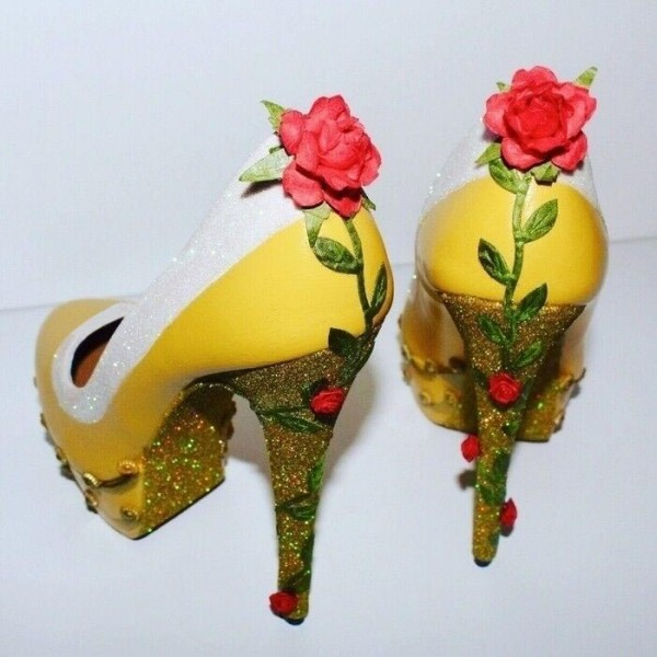 Yellow Beauty and the Beast Rose Glitter Stiletto Heels Pumps image 3
