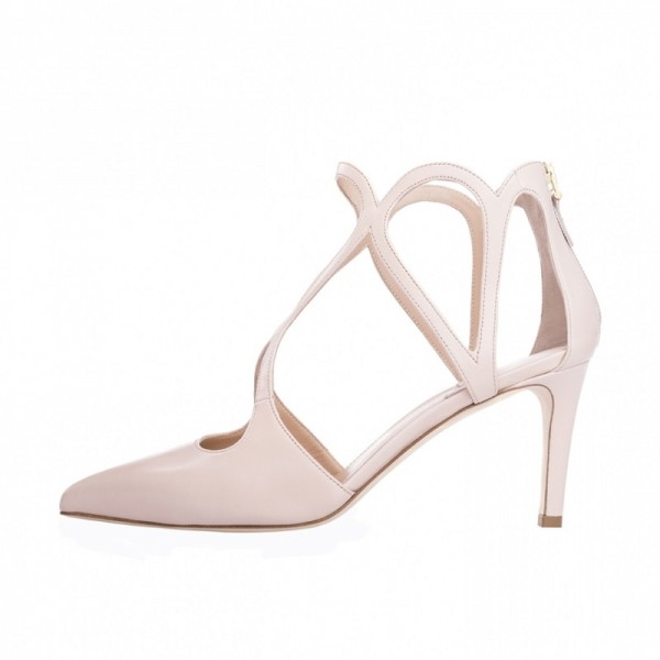 1b0add993f9 Nude 3 inch Heels Twisted Straps Pointy Toe Stiletto Heels Shoes