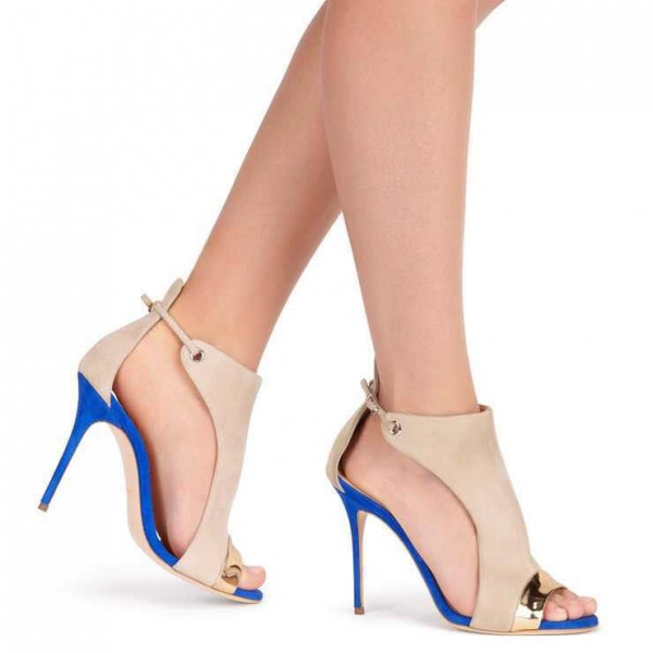 Beige Stiletto Heels Open Toe Suede Sandals image 2
