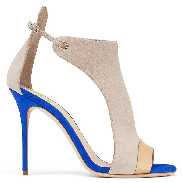 Beige Stiletto Heels Open Toe Suede Sandals image 4