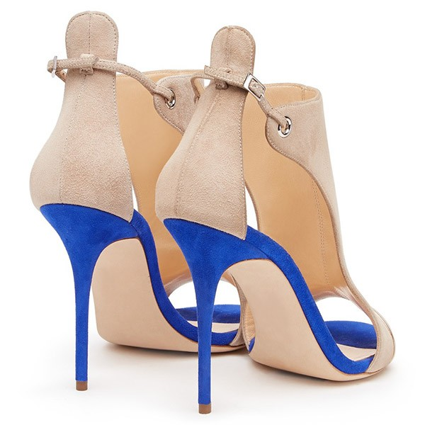 Beige Stiletto Heels Open Toe Suede Sandals image 5