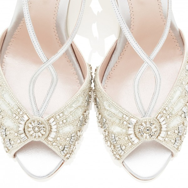 Beige and Silver Beaded and Rhinestone Wedding Wedges  image 3