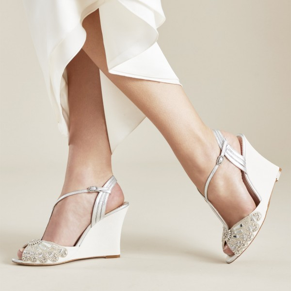 Beige and Silver Beaded and Rhinestone Wedding Wedges