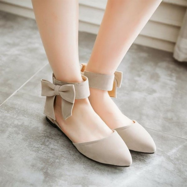 Women's Nude Ankle Strap Bow Pointed Toe Comfortable Flats image 2
