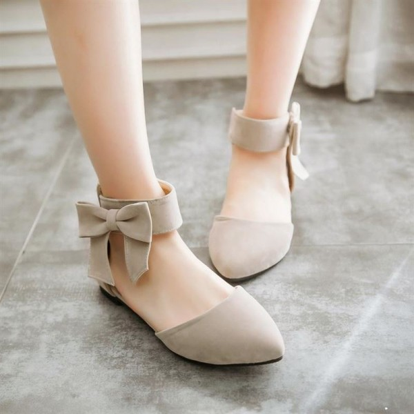 Women's Nude Ankle Strap Bow Pointed Toe Comfortable Flats image 3