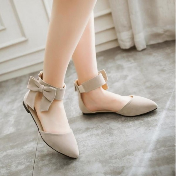 Women's Nude Ankle Strap Bow Pointed Toe Comfortable Flats image 5