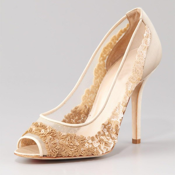 Beige Bridal Shoes Lace Heels Sequined Peep Toe Stiletto Heel Pumps image 1