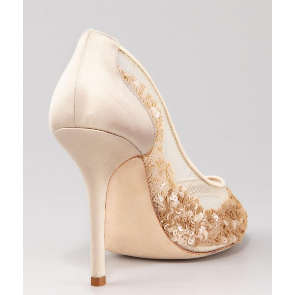 Beige Bridal Shoes Lace Heels Sequined Peep Toe Stiletto Heel Pumps image 4