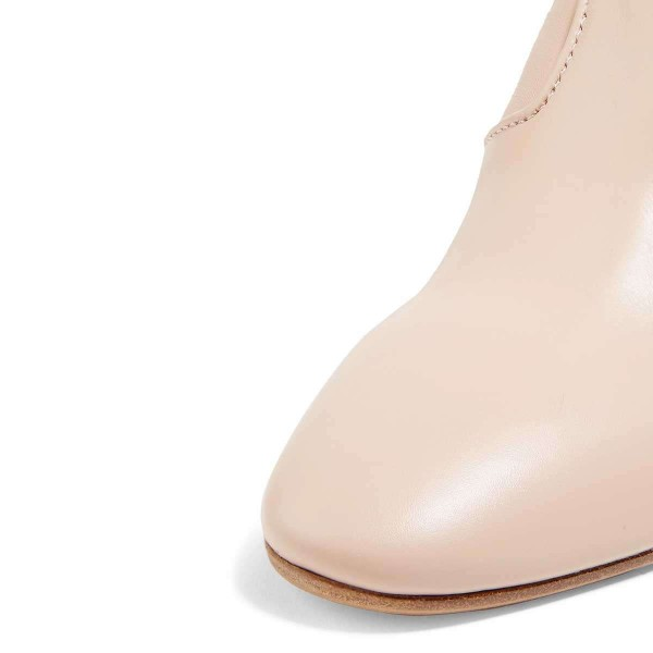 Beige Chunky Heel Boots Ankle Boots image 3