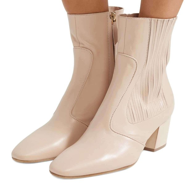 Beige Chunky Heel Boots Ankle Boots image 1