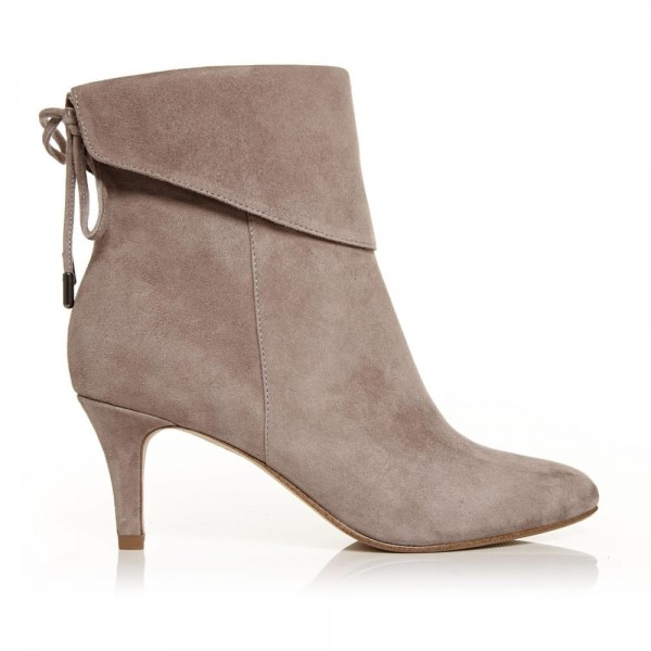 Nude Kitten Heel Boots Suede Back Laced Fashion Ankle Booties image 2