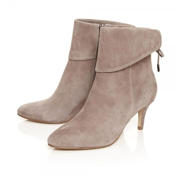 Nude Kitten Heel Boots Suede Back Laced Fashion Ankle Booties image 1