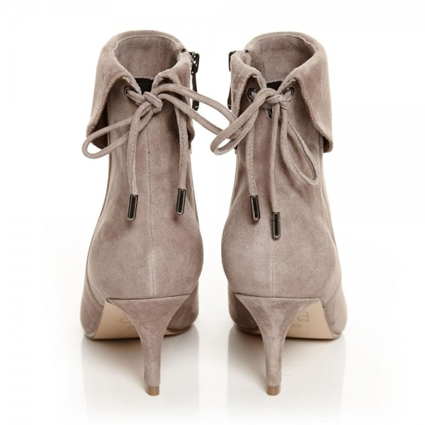 Nude Kitten Heel Boots Suede Back Laced Fashion Ankle Booties image 3