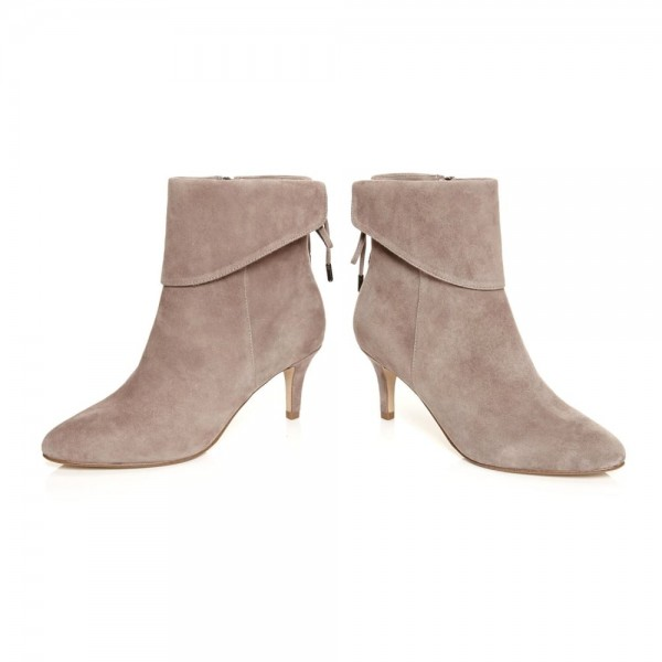 Nude Kitten Heel Boots Suede Back Laced Fashion Ankle Booties image 4