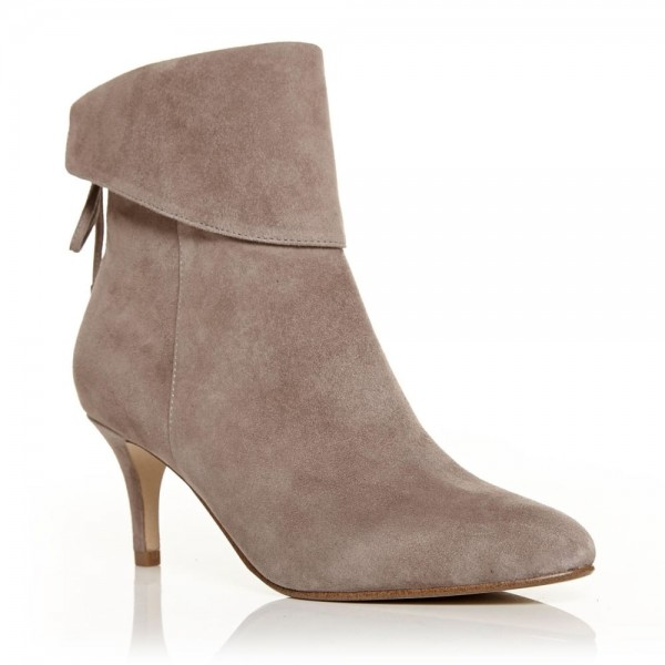 Nude Kitten Heel Boots Suede Back Laced Fashion Ankle Booties image 6