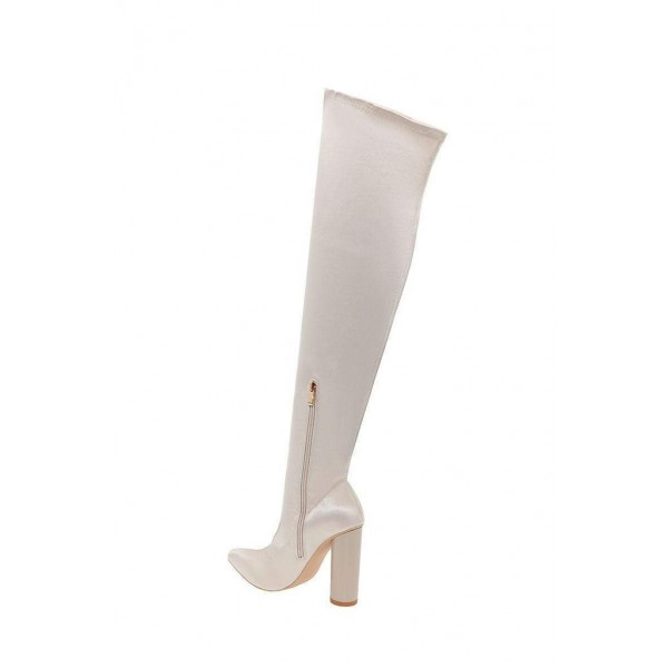 Beige Flash Stripe Chunky Heel Boots Over-the-knee Boots image 2