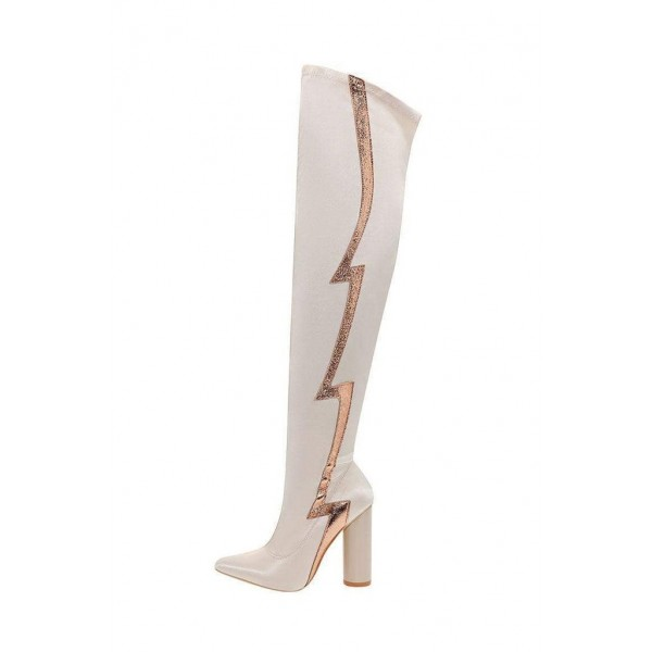 Beige Flash Stripe Chunky Heel Boots Over-the-knee Boots image 3