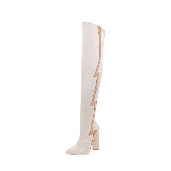 2558bc373bc Beige Flash Stripe Chunky Heel Boots Over-the-knee Boots for Date ...