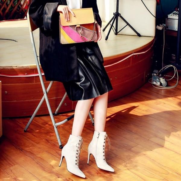Women's Beige Heels Lace Up Boots Elegant Pointed Toe Ankle Boots image 2