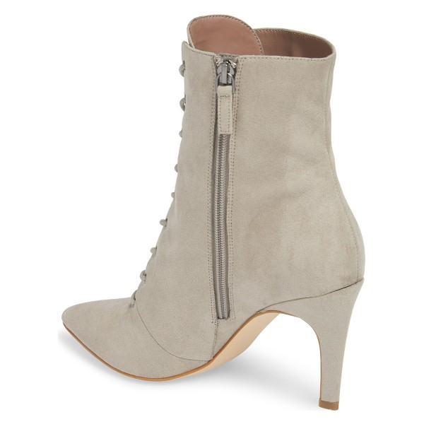 Beige Lace up Boots Elegant Pointed Toe Ankle Booties with Zipper image 2