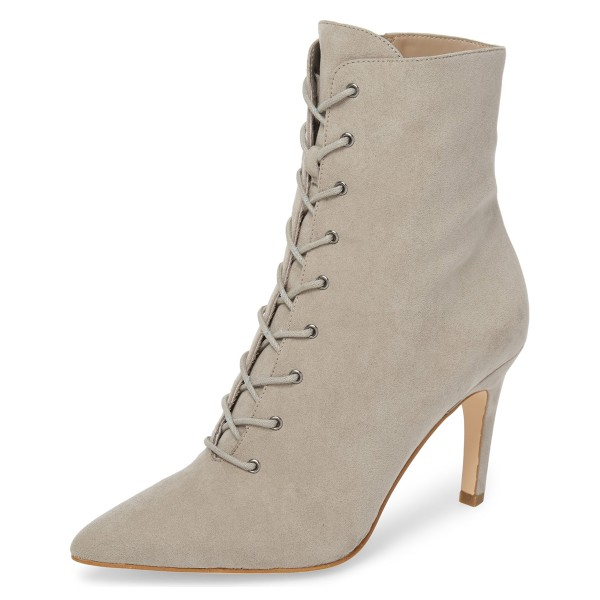 Beige Lace up Boots Elegant Pointed Toe Ankle Booties with Zipper image 1