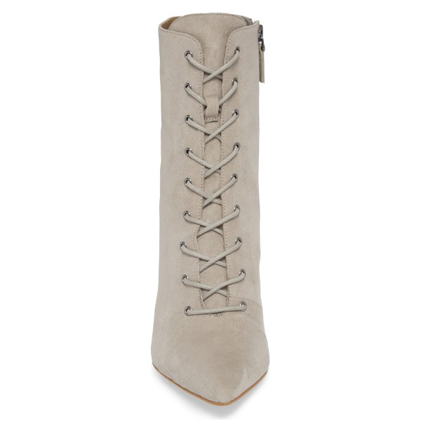 Beige Lace up Boots Elegant Pointed Toe Ankle Booties with Zipper image 4