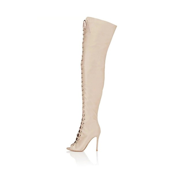 Beige Thigh High Lace up Boots Satin Peep Toe Stiletto Heel Long Boots image 4