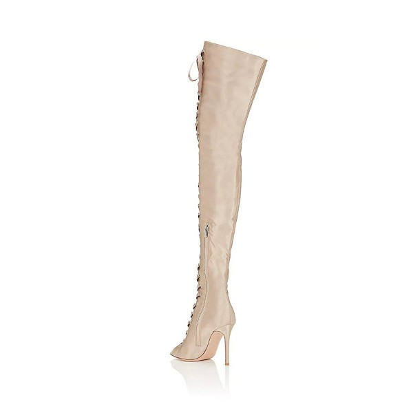 Beige Thigh High Lace up Boots Satin Peep Toe Stiletto Heel Long Boots image 2