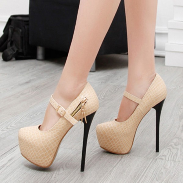 Beige Mary Jane Pumps Stiletto Heels Alligator Grain Platform High Heel Shoes image 2