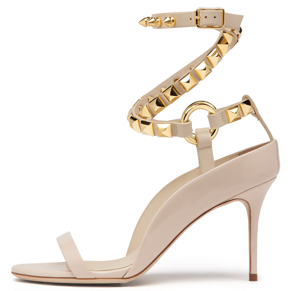 Beige Open Toe Strappy Rivets Ankle Strap Sandals image 2