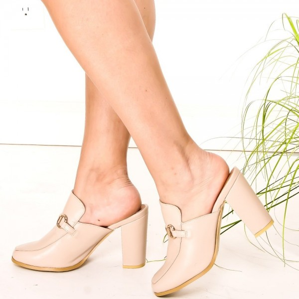 Beige Loafer Mules Square Toe Chunky Heels Loafers for Women image 1