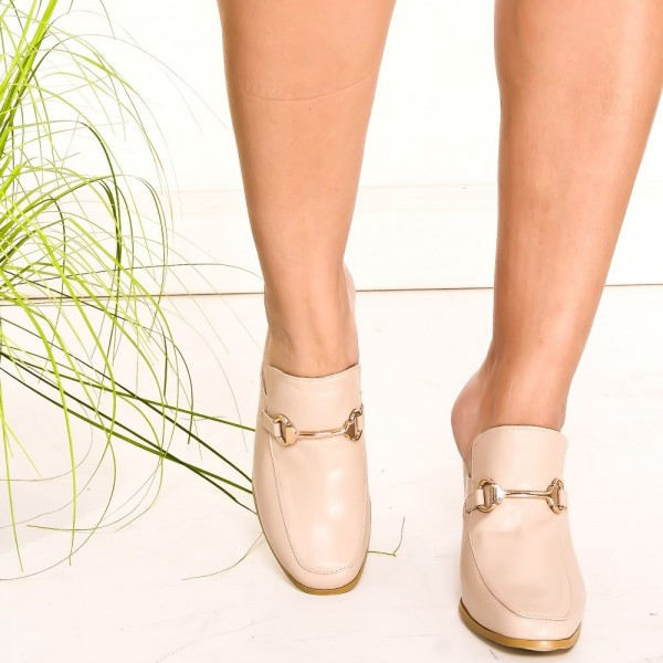 Beige Loafer Mules Square Toe Chunky Heels Loafers for Women image 2