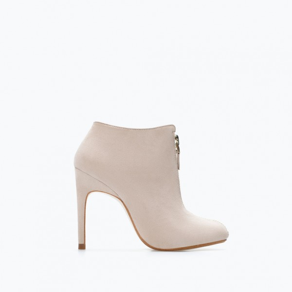 Nude Stiletto Boots Round Toe Suede Heeled Ankle Booties for Work image 2