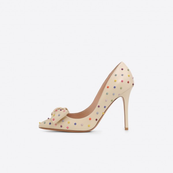 Beige Stiletto Heels Rivets Pumps Pointy Toe Pumps with Bow image 1