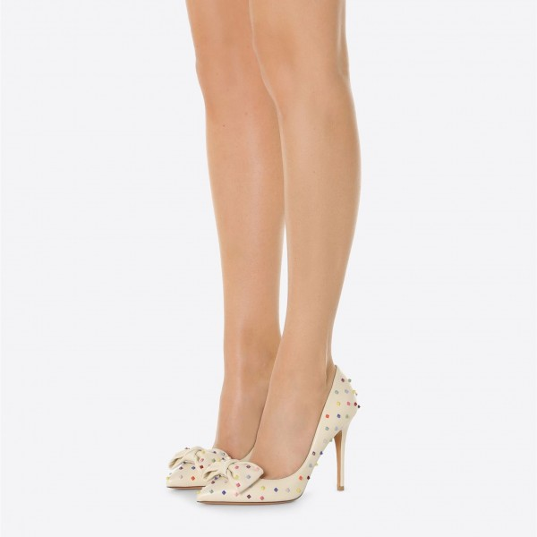 Beige Stiletto Heels Rivets Pumps Pointy Toe Pumps with Bow image 2