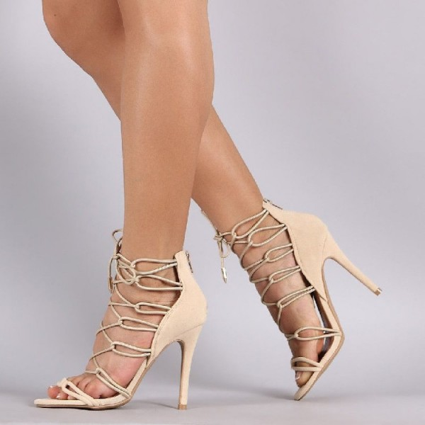 Beige Strappy Sandals Lace up Suede Stiletto Heels image 1