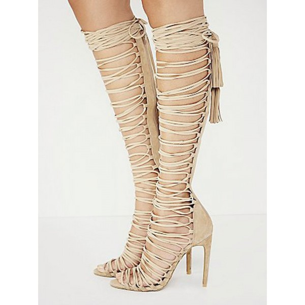 Nude Strappy Sandals Stiletto Heels for Sexy Ladies image 2