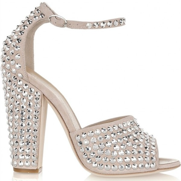 Beige Wedding Sandals Peep Toe Ankle Strap Studded Chunky Heels image 2