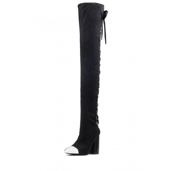 Black Suede Lace Up Boots Block Heel Thigh-high Boots image 2