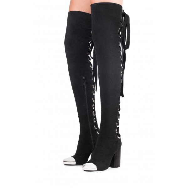 Black Suede Lace Up Boots Block Heel Thigh-high Boots image 1