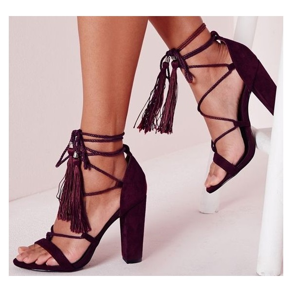 6cfaa474314 Berry Lace up Tassel Sandals Open Toe Strappy Block Heeled Sandals image 1  ...