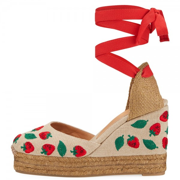 Khaki Canvas Patterned Wedge Heels Platform Strappy Sandals image 2