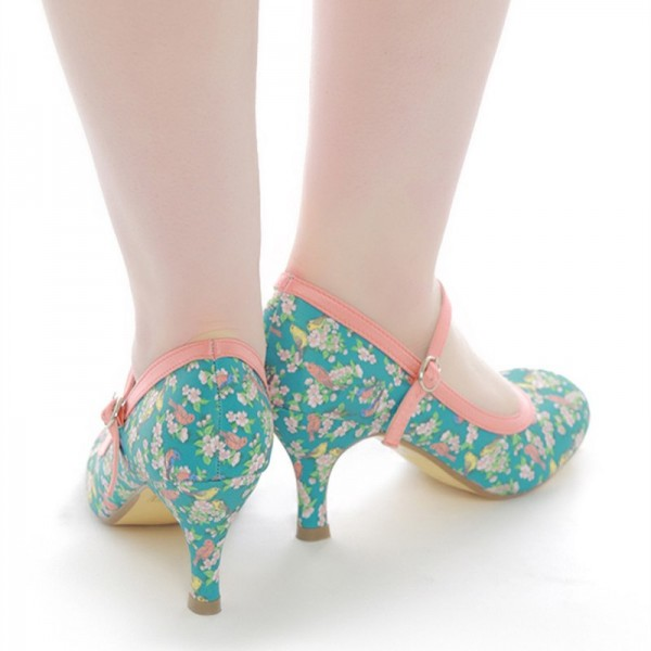 Birds and Flowers Floral Heels Mary Jane Pumps image 3
