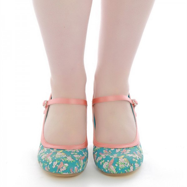 Birds and Flowers Floral Heels Mary Jane Pumps image 4
