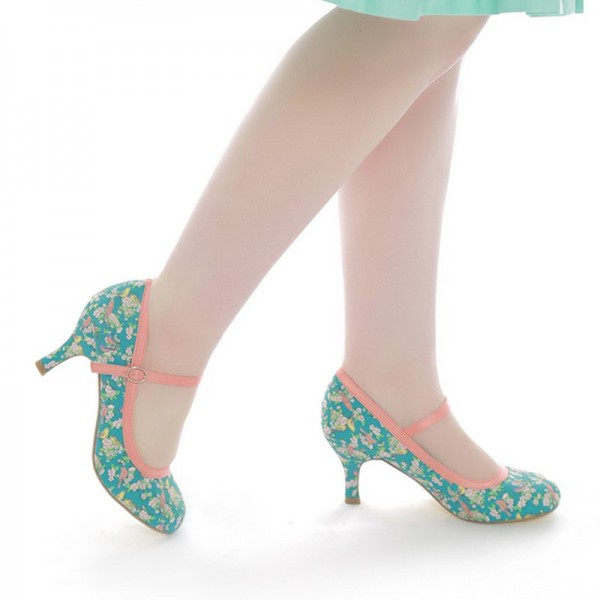Birds and Flowers Floral Heels Mary Jane Pumps image 2